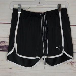 Puma Black & White Stripe Sports Drawstring Shorts